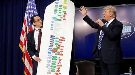 Special Assistant to the President for Infrastructure Policy DJ Gribbin (L) holds up a chart showing the regulatory steps to build a highway 4 April, 2017. © Kevin Lamarque