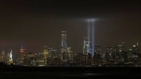FILE PHOTO: The Tribute in Light installation in New York City, marking the location of the World Trade Center buildings destroyed on September 11, 2001