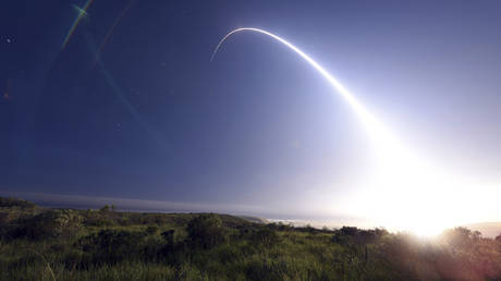 FILE PHOTO An unarmed Minuteman III ICBM launches during an operational test from Vandenberg Air Force Base California © REUTERS/Kyla Gifford/U.S. Air Force Photo/Handout