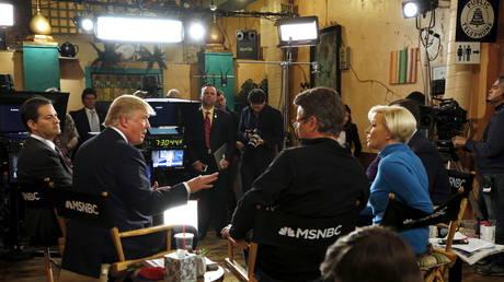 Donald Trump talks to host Joe Scarborough during an appearance on MSNBC's 'Morning Joe'