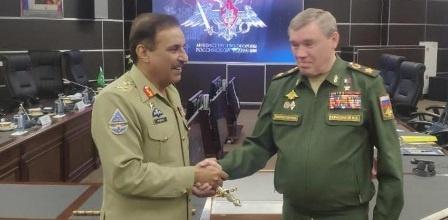 ماسکو: پاکستانی چیئرمین جائنٹ چیف سٹاف کی روسی سپہ سالار سے ملاقات