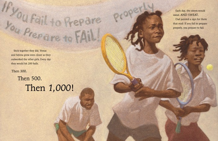 Sample Image from Sisters and Champions: The True Story of Venus and Serena Williams Illustrated by Floyd Cooper