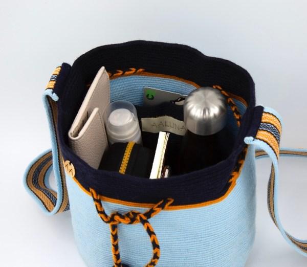 Colmena Medium Colorblock Bucket Bag in Sky Blue / Navy / Orange Aaluna Collections bucket bag
