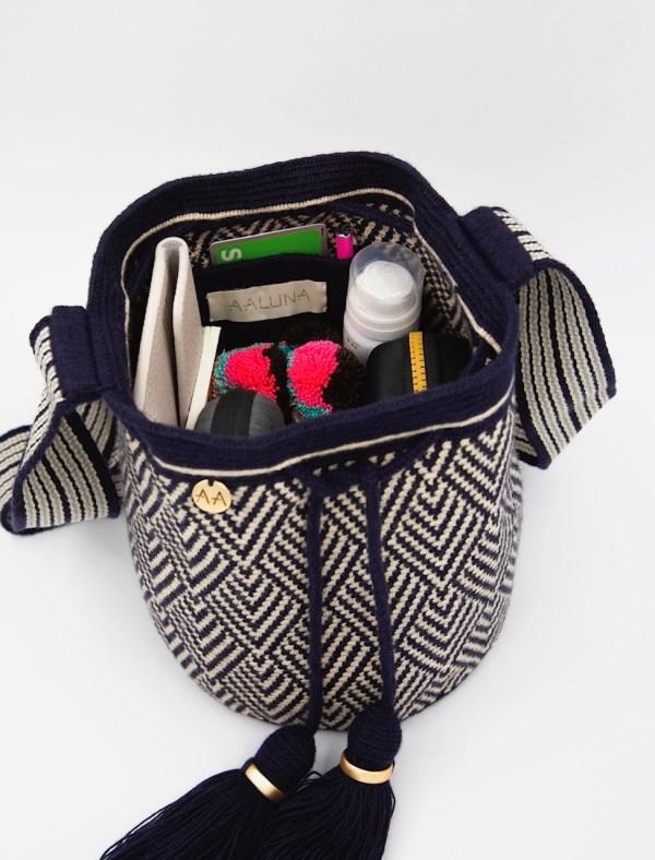 Escama Medium Bucket Bag in Navy/Beige Bags bucket bag
