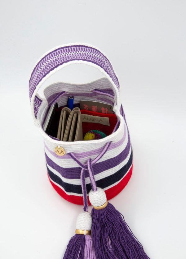 ジャリナヤナ ハンドキャリーバケットバッグ ストライプ ホワイト / ライラック / パープル / ネイビー / レッド Aaluna bucket bag