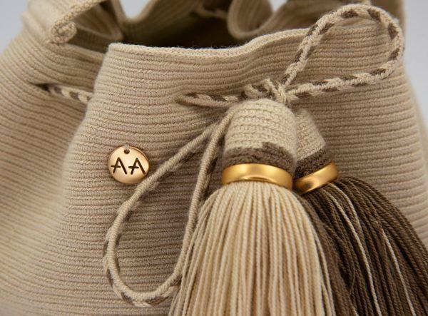 カナスト ストライプミディアムバケットバッグ クリーム / ヘーゼルナッツ / ライラック / アッシュ Aaluna bucket bag