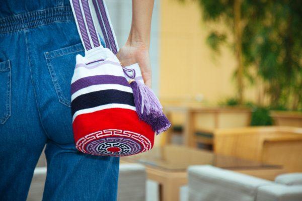 ジャリアラナヤ ストライプミディアムバケットバッグ ホワイト / ライラック / パープル / ネイビー / レッド Aaluna bucket bag