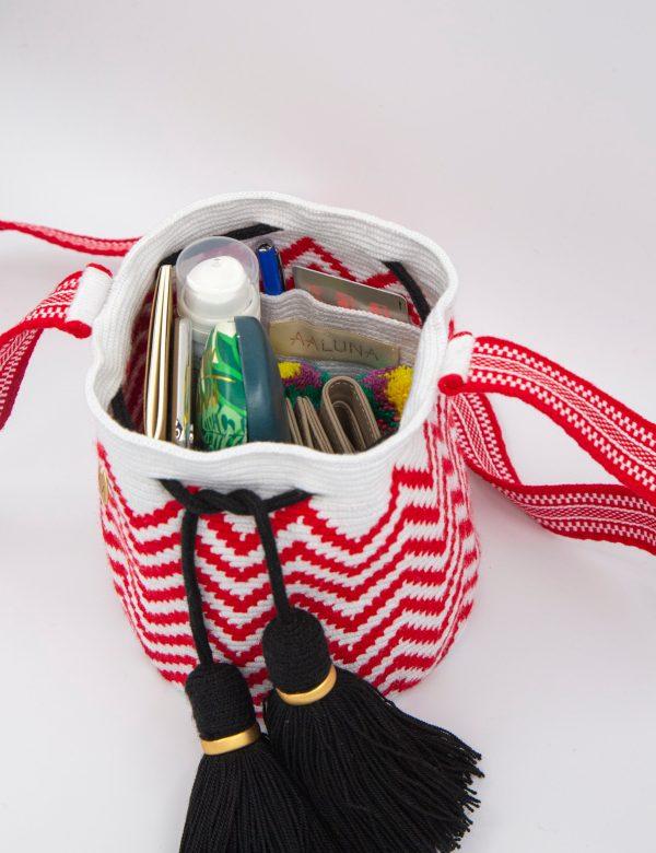 Olas Small Crossbody Bucket in Fuschia/White/Black Olas bucket bag