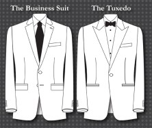 different bewteen business suit and tuxedo