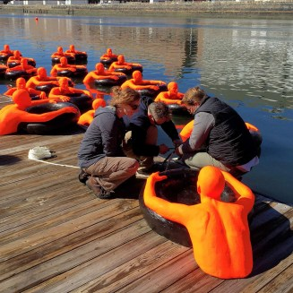 SOS (Safety Orange Swimmers), Installation, Fort Point Channel, Boston