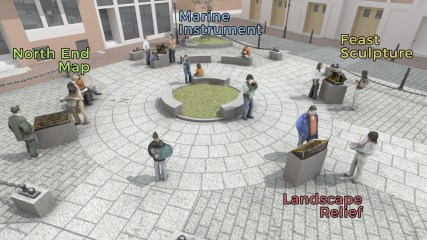 North Square Public Art rendering, labelled