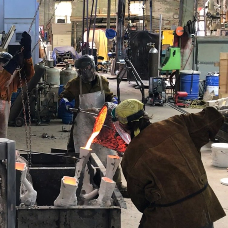 Pouring bronze at Independent Casting, Inc.