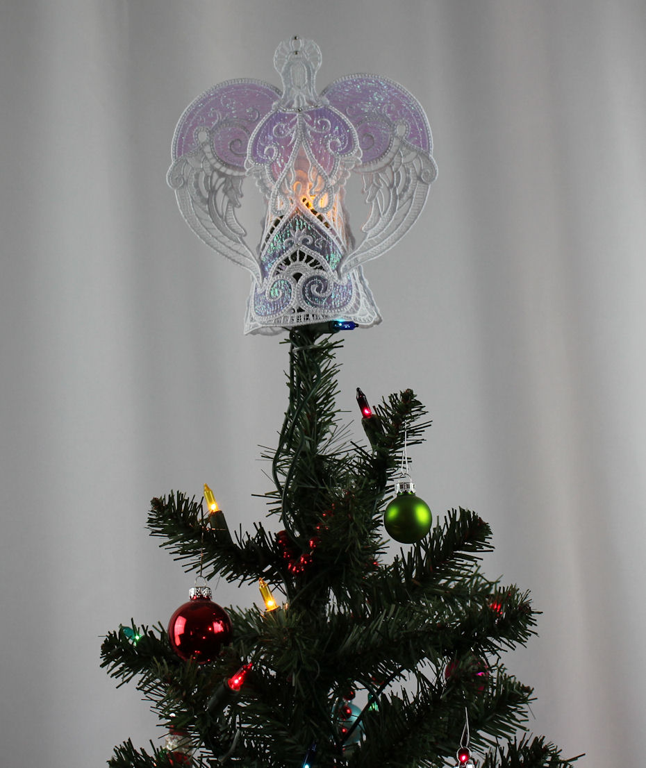 opalescent purple angel free standing lace