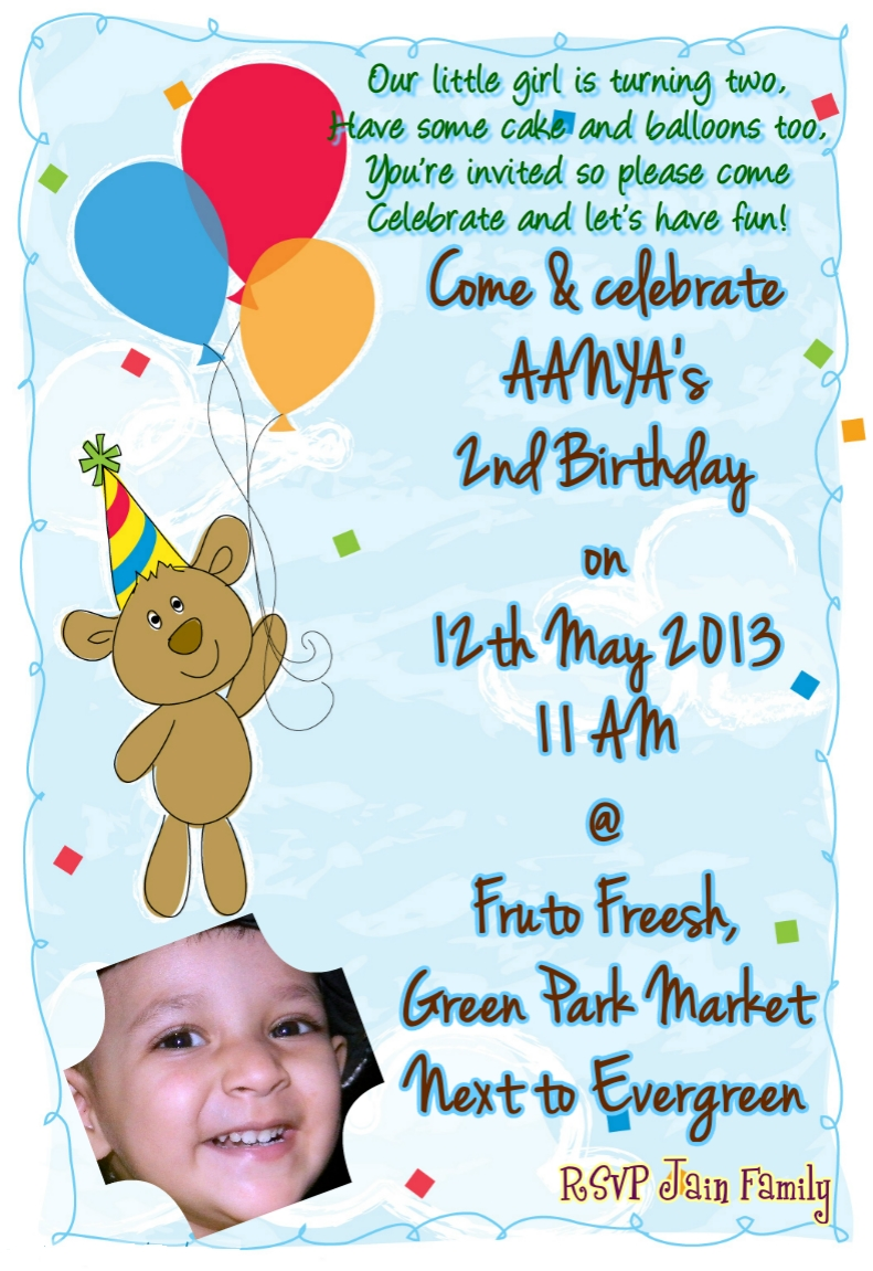 2nd birthday invitation card aanya jain