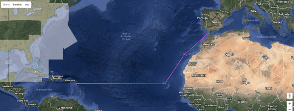 In a straight line it would have been 3680 nautical miles, we did more or less 4600 (8500km!)