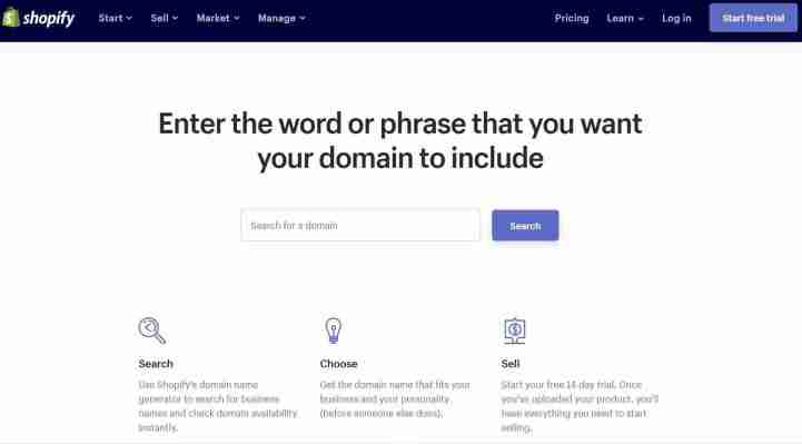 Shopify: Powerful और brandable domain generator tool