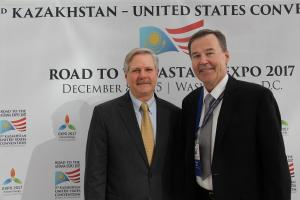 North Dakota U.S. Sen. Sen. John Hoeven Howard Dahl, who was honored by the country of Kazakhstan for doing business in the nation for 25 years.