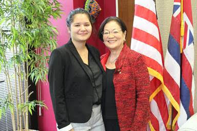 U.S. Sen. Hirono (HI-D), right, with her State of the Union guest, Hawai'i native Sierra Schmitz.