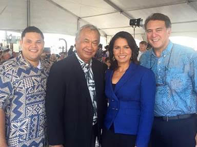 U.S. Rep. Tulsi Gabbard (HI-2) with Hawai'i State Sen. Gil Kahele at the Kamehameha Statue in Washington, D.C.