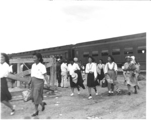 A photo of Japanese Americans arriving at a relocation center in Arkansas, either Jerome or Rohwer, during World War II. (Photos courtesy of Heart Mountain Wyoming Foundation Okumoto Collection)