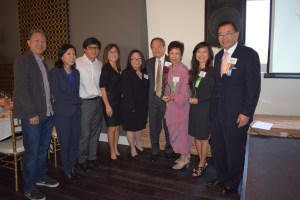Honorees with presenters, from left, Mingo Lee, Anh Do, Ed Lee, Nita Song, Mary Anne Foo, John Long, Marilyn Long, Linda Trinh Vo and Stewart Kwoh.