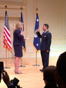 U.S. Secretary of the Air Force Deborah Lee James on June 15, 2016 promotes Congressman Ted Lieu (CA-33) from Lieutenant Colonel to Colonel in the United States Air Force Reserve. (Contributed photo)