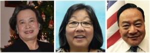 """From left, Shiao-Lin D. Hui, Julie Kimiyo Hubbard and Dongwoo """"Joe"""" Pak."""