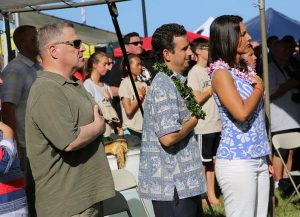 From left, Gen. Mark Miley, U.S. Army Chief of Staff, U.S. Senator Brian Schatz, U.S. Rep. Tulsi Gabbard at the 2016 Na Koa Wounded Warrior Canoe Regatta in Waikiki.