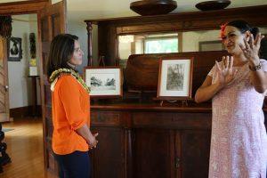 U.S. Rep. Tulsie Gabbard visiting Hulihe'e Palace.