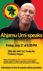 Ahjamu Umi Speaks – Portland, Oregon, U.S.