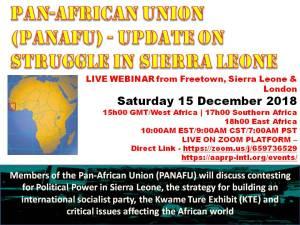 Pan-African Union (PANAFU) – Update on Struggle in Sierra Leone