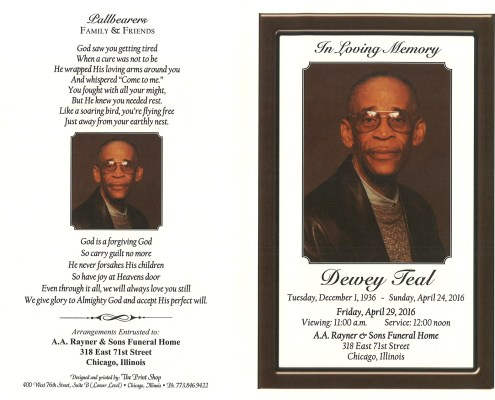 Obituary of Dewey Teal funeral service at aa rayner and sons