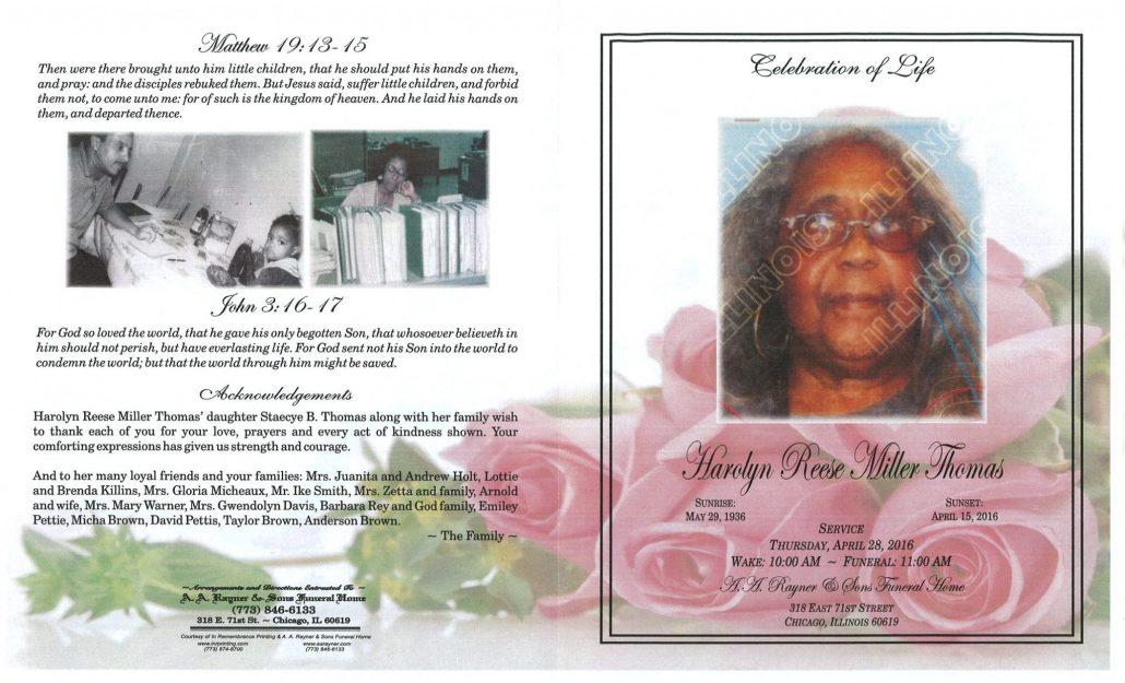 Harolyn Reese Miller Thomas Obituary 1