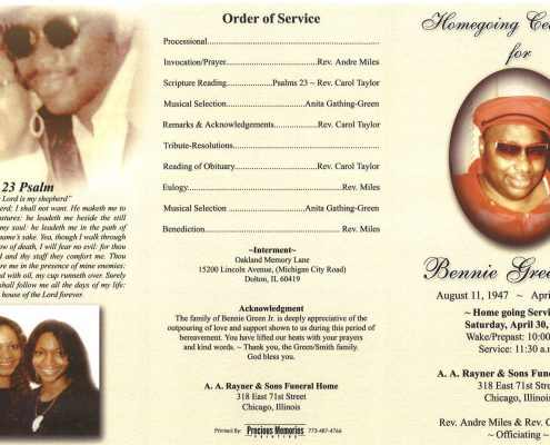 Bennie Green Jr Obituary from funeral service at aa rayner and sons 1
