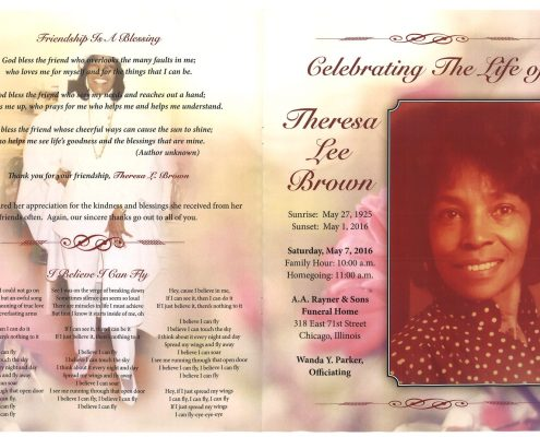 Theresa Lee Brown obituary from funeral service at aa rayner and sons funeral home in chicago illinois