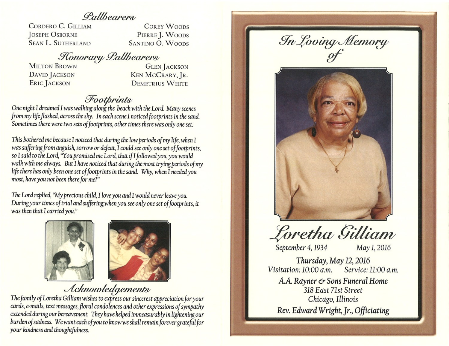 Loretha Gilliam Obituary | AA Rayner and Sons Funeral Home