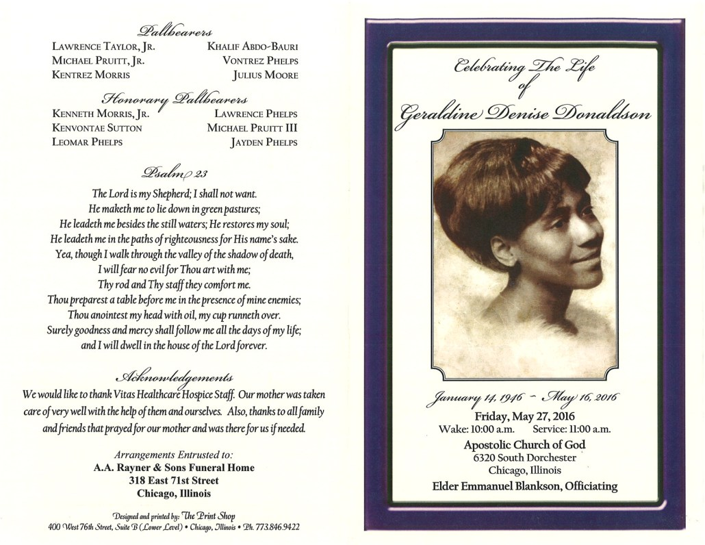 Geraldine Denise Donaldson Obituary from funeral service at aa rayner and sons funeral home in chicago illinois