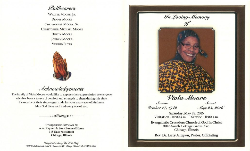 Viola Moore Obituary from funeral service at aa rayner and sons funeral home in chicago illinois