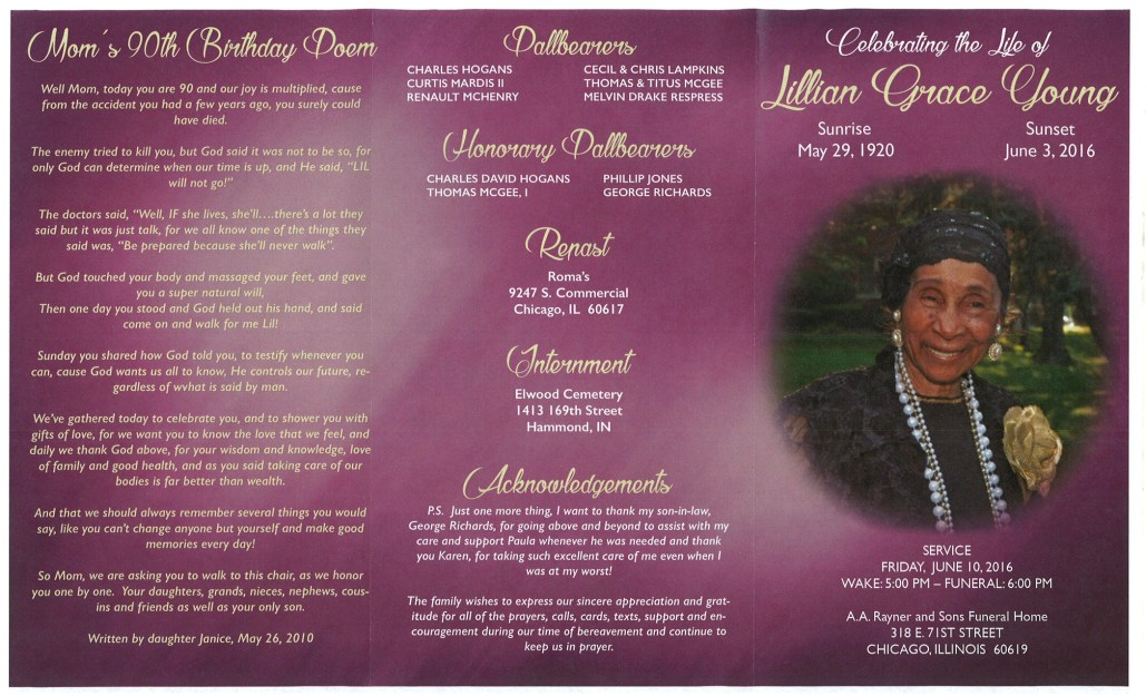 Lillian Grace Young Obituary from funeral service at aa rayner and sons funeral home in chicago illinois