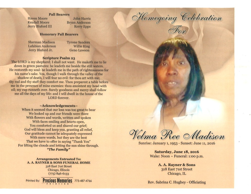 Velma Ree Madison Obituary from funeral service at aa rayner and sons funeral home in chicago illinois