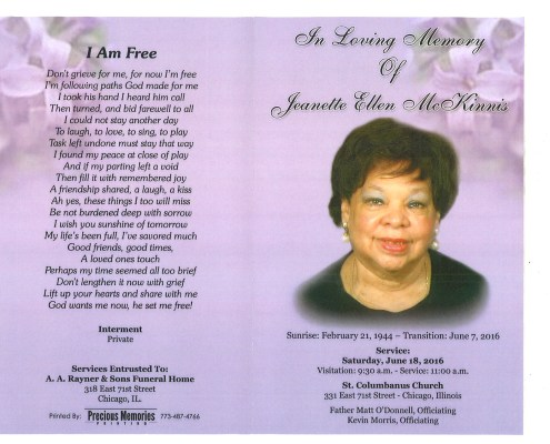 Jeanette Ellen McKinnis Obituary from funeral service at aa rayner and sons funeral home in chicago illinois