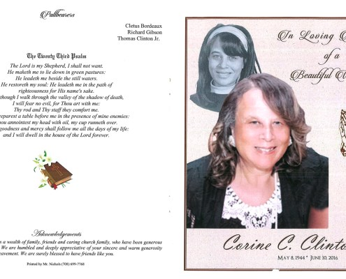 Corrine C Clinton Obituary from funeral service at aa rayner and sons funeral home in chicago illinois