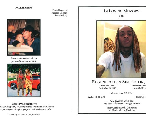 Eugene Allen Singleton Jr Obituary from funeral service at aa rayner and sons funeral home in chicago illinois