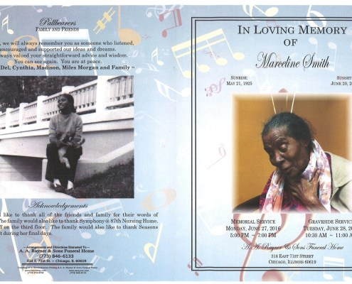 Marceline Smith Obituary from funeral service at aa rayner and sons funeral home in chicago illinois