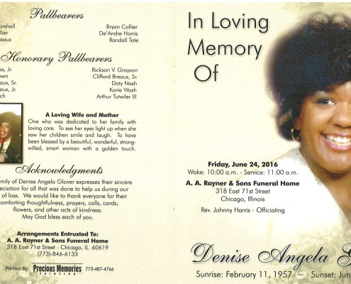 Denise Angela Glover Obituary from funeral service at aa rayner and sons funeral home in chicago illinois