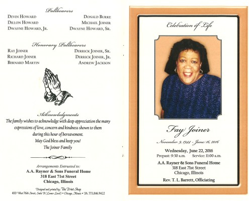 Fay Joiner Obituary from funeral service at aa rayner and sons funeral home in chicago illinois