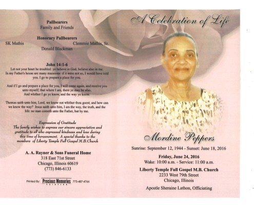 Mordine Peppers Obituary from funeral service at aa rayner and sons funeral home in chicago illinois