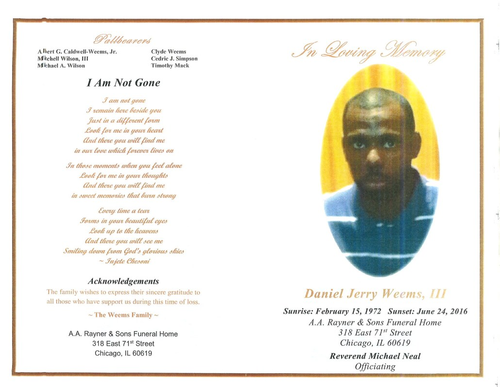 Daniel Jerry Weems III Obituary from funeral service at aa rayner and sons funeral home in chicago illinois