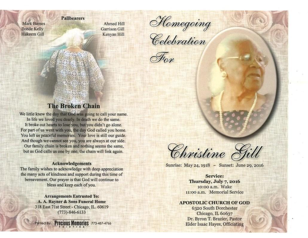 Christine Gill Obituary