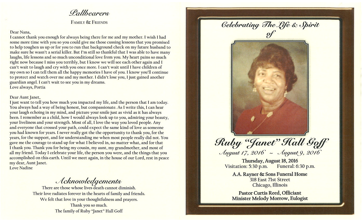 Ruby Janet Hall Goff Obituary | AA Rayner and Sons Funeral Home
